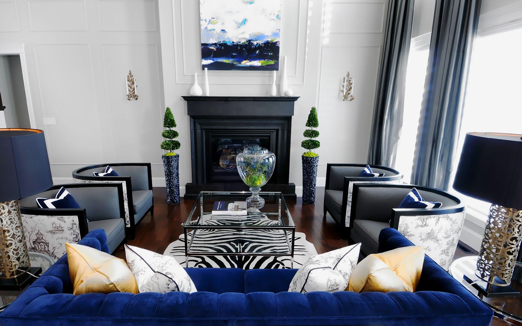 синий цвет в дизайне интерьера