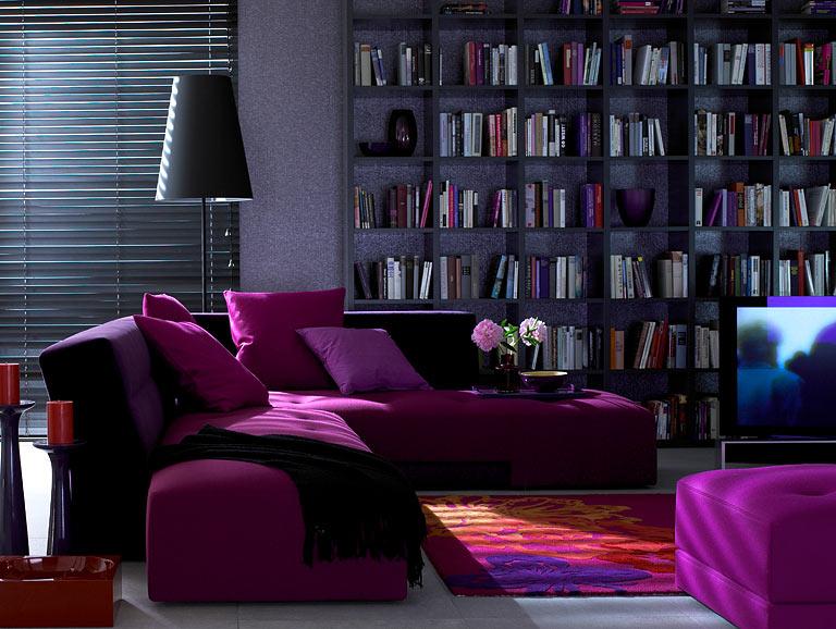 пурпурный цвет в дизайне интерьера